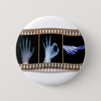 XRAY SIGN LANGUAGE FILM - HAND OK HANDSHAKE PINBACK BUTTON