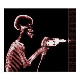 XRAY SKELETON DRILL BLACK RED POSTERS