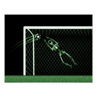 XRAY SKELETON SOCCER GOALIE GREEN POSTER