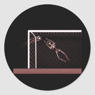 XRAY SKELETON SOCCER GOALIE RED CLASSIC ROUND STICKER