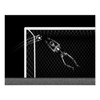 XRAY SKELETON SOCCER GOALIE WHITE BLACK POSTER