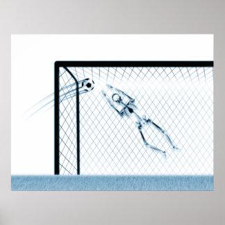 XRAY SKELETON SOCCER GOALIE WHT BLUE POSTER