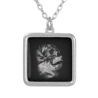 XRay Skull Head Scan Skeleton Square Pendant Necklace