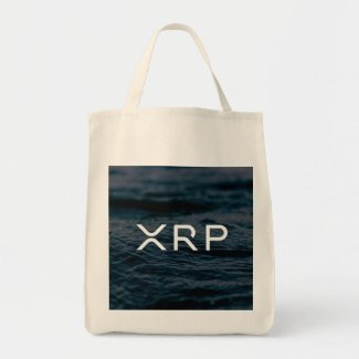 XRP Ripple grocery tote bag waves water