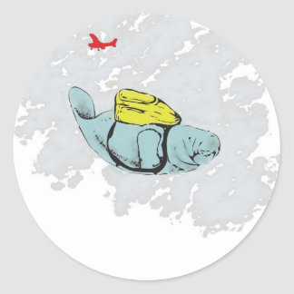 Xtreme Manatee Skydiving Classic Round Sticker