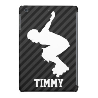 Xtreme Skating; Black & Dark Gray Stripes iPad Mini Cover
