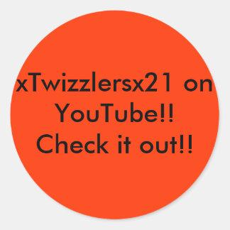 ¡xTwizzlersx21 en YouTube!! ¡Compruébelo hacia Pegatina Redonda