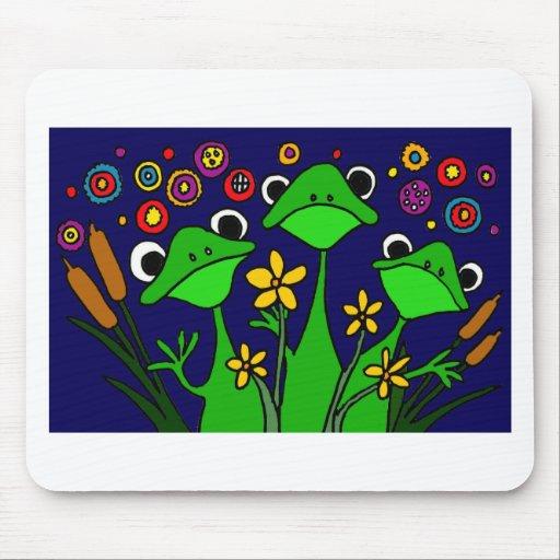 XU- diseño divertido del arte popular de la rana Tapete De Raton