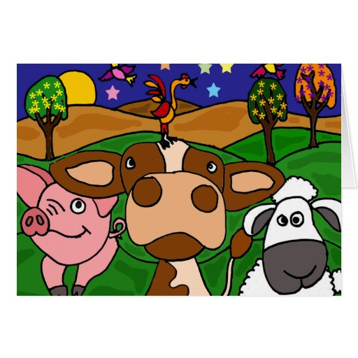 XV- Cow, Pig, and Sheep Folk Art Design Greeting Card