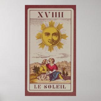 XVIIII Le Soleil, carta de tarot francesa del Sun Posters