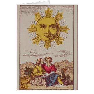 XVIIII Le Soleil, carta de tarot francesa del Sun Tarjeta De Felicitación