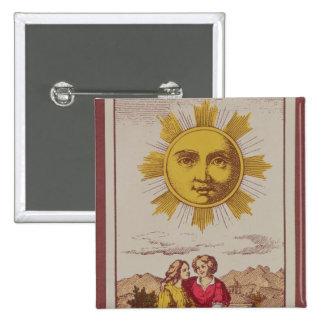 XVIIII Le Soleil, French tarot card of the Sun Button