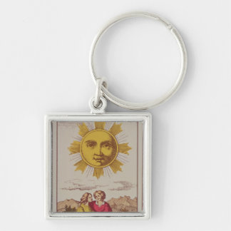 XVIIII Le Soleil, French tarot card of the Sun Keychain