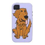 XW- diseño divertido del perro del golden retrieve iPhone 4 Carcasas