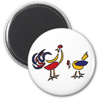 XX- Abstract Art Chicken and Rooster Refrigerator Magnet