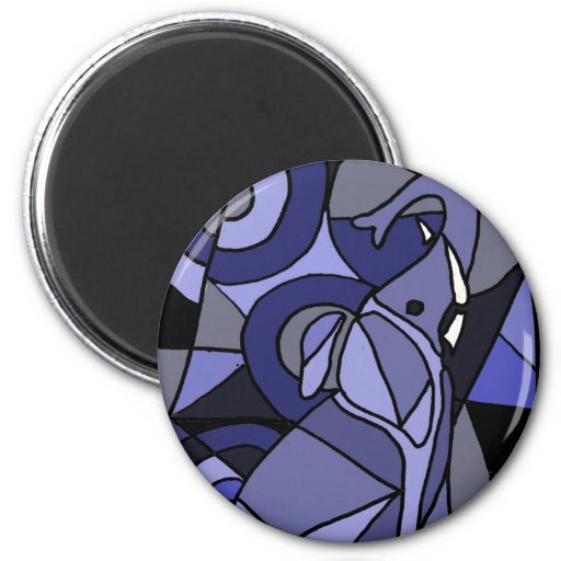 XX- Abstract Art Elephant 2 Inch Round Magnet
