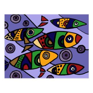 XX- Abstract Art Fish Postcard