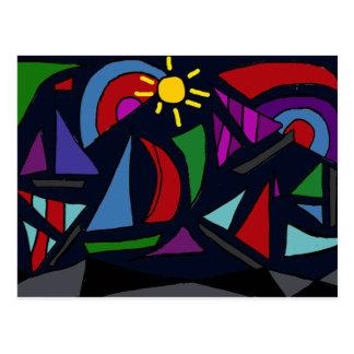 XX- Abstract Art Sailing Postcard