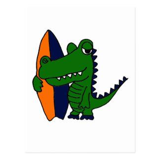 XX- Alligator Surfer Dude Postcard