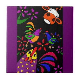 XX animales del campo del arte popular Azulejo Cuadrado Pequeño