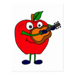 XX- Apple Playing Guitar Cartoon Post Cards