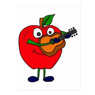 XX- Apple Playing Guitar Cartoon Postcard