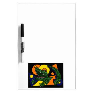 XX arte abstracto del cocodrilo Pizarras Blancas De Calidad