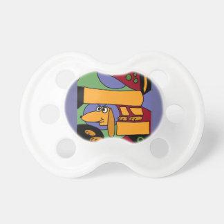 XX arte abstracto del Dachshund divertido Chupetes Para Bebes