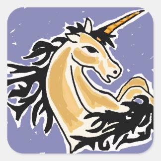 XX arte del unicornio del salto Calcomanías Cuadradass Personalizadas