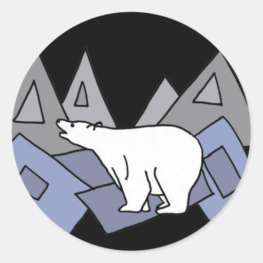 XX arte impresionante del oso polar Pegatina Redonda