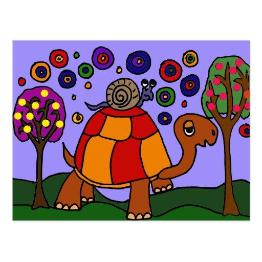 XX arte popular de la tortuga del montar a caballo Tarjeta Postal