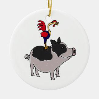XX arte popular del cerdo y del gallo Adorno Navideño Redondo De Cerámica