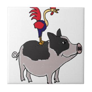 XX arte popular del cerdo y del gallo Azulejos Ceramicos