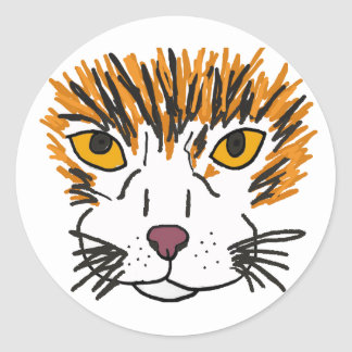 XX- Artistic Cat Face Classic Round Sticker