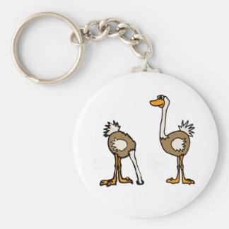 XX avestruces en arena Llavero Redondo Tipo Pin