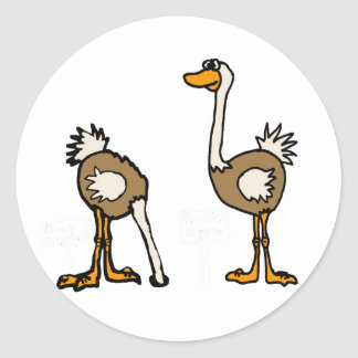 XX avestruces en arena Pegatina Redonda