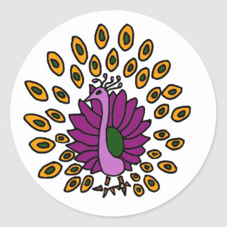 XX- Awesome Abstract Art Peacock Classic Round Sticker