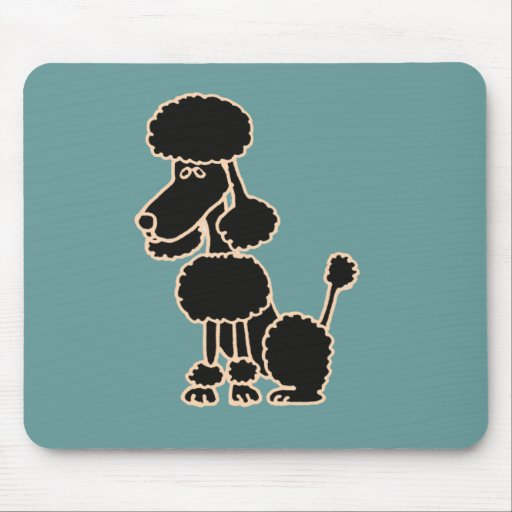 XX- Awesome Black Poodle Sitting Cartoon Mouse Pad