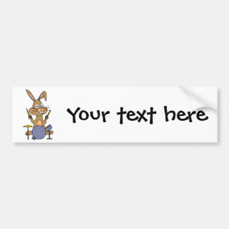 XX- Awesome Bunny Rabbit Playing Drums Bumper Sticker