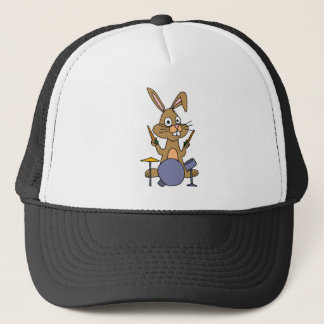 XX- Awesome Bunny Rabbit Playing Drums Trucker Hat