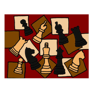 XX- Awesome Chess Game Pieces Art Postcard