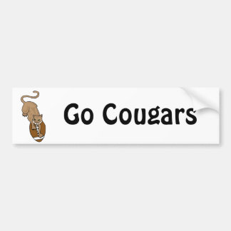 XX- Awesome Cougar Leaping on a Football Bumper Sticker