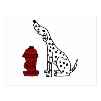 XX- Awesome Dalmatian Dog and Fire Hydrant Postcard