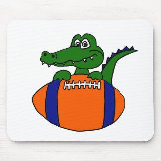XX- Awesome Gator on a Football Cartoon Mouse Pad