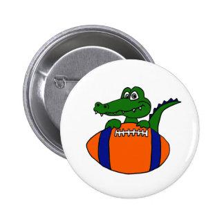 XX- Awesome Gator on a Football Cartoon Pinback Button