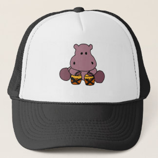 XX- Awesome Hippo Playing Bongo Drums Trucker Hat
