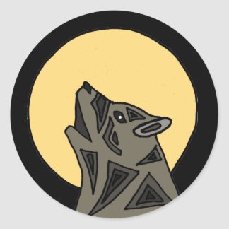 XX- Awesome Howling Wolf Classic Round Sticker
