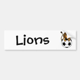 XX- Awesome Lion on a Soccer ball Art Bumper Sticker