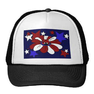 XX- Awesome Red White and Blue Flower and Stars Hats