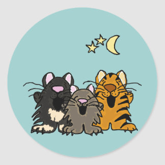 XX- Awesome Singing Cats Classic Round Sticker